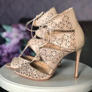 Leather booties laser cut shoes